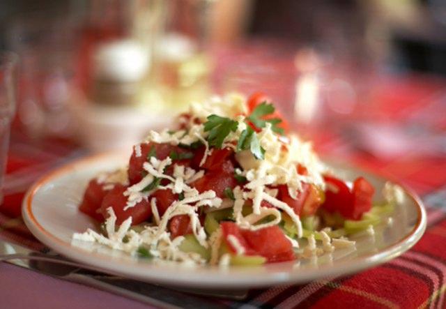 Bulgarian traditional salad with feta cheese- shopska salata - shopska salad